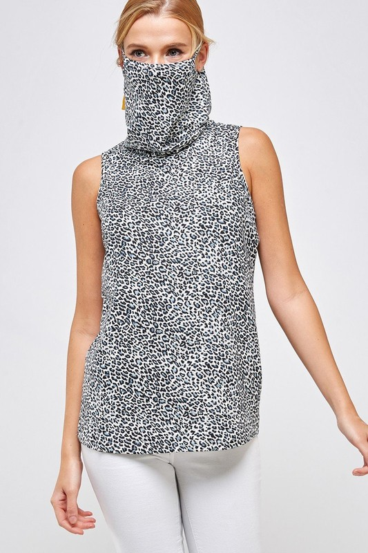 Fitted Leopard Print Turtle Neck Essential Dress with Built-in Face Mask Gray Mask Up