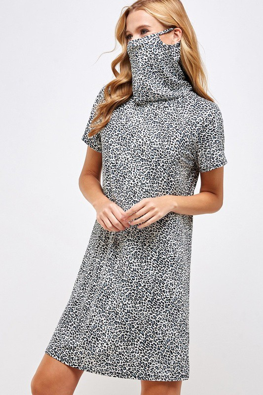 Fitted Leopard Print Turtle Neck Essential Dress with Built-in Face Mask Gray Side