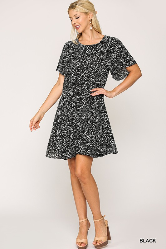Leopard Print Insert Detail Hem Dress Black full front