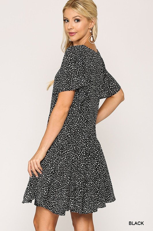 Leopard Print Insert Detail Hem Dress Black full side 2
