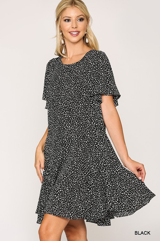 Leopard Print Insert Detail Hem Dress Black full side
