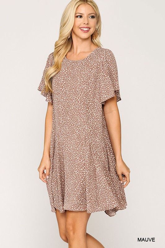 Leopard Print Insert Detail Hem Dress Mauve front full