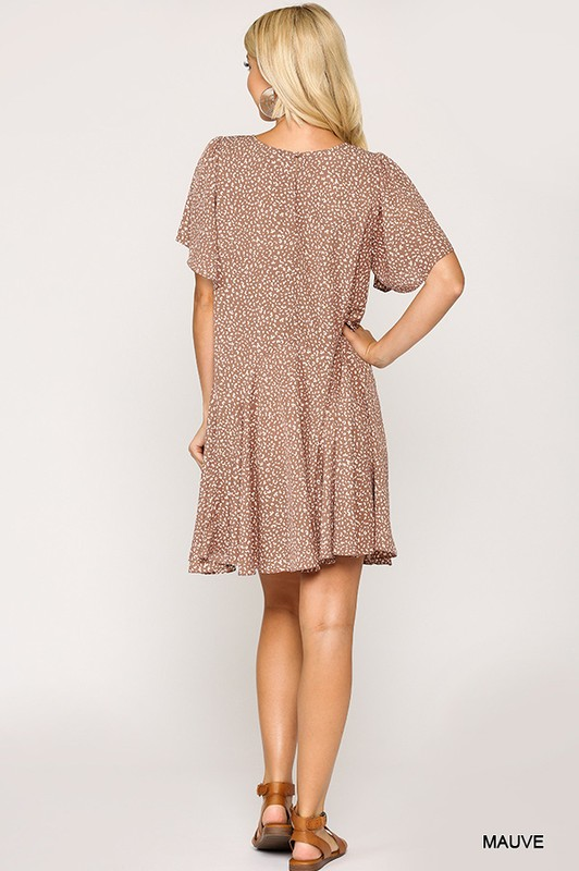 Leopard Print Insert Detail Hem Dress Mauve full back