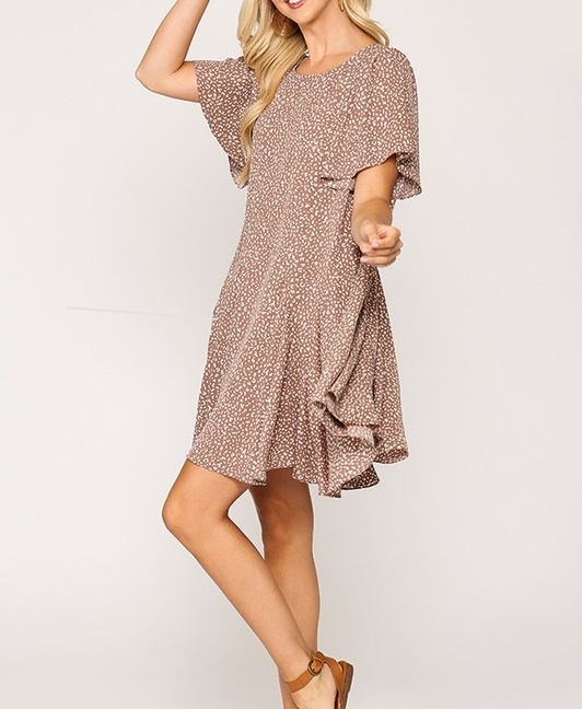 Leopard Print Insert Detail Hem Dress Mauve full side