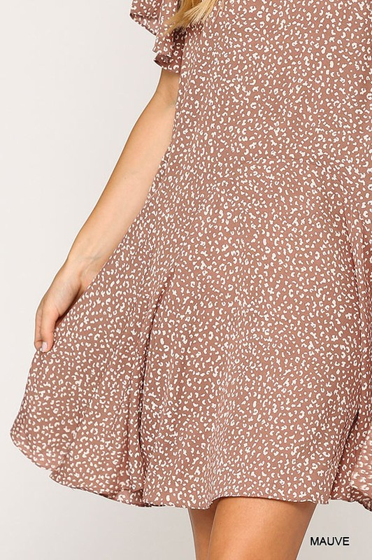 Leopard Print Insert Detail Hem Dress Mauve hem close