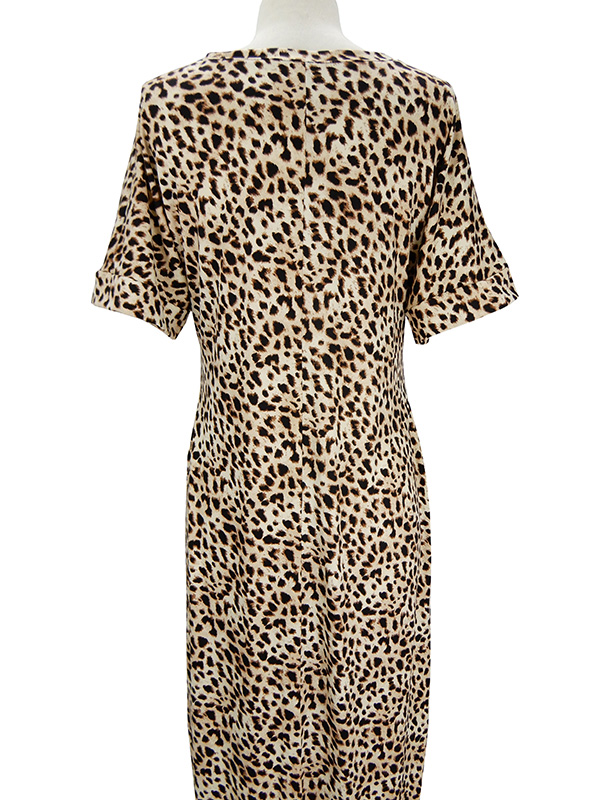 Leopard V-Neck Short Sleeve Maxi Dress with Pockets back