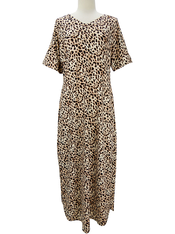 Leopard V-Neck Short Sleeve Maxi Dress with Pockets front