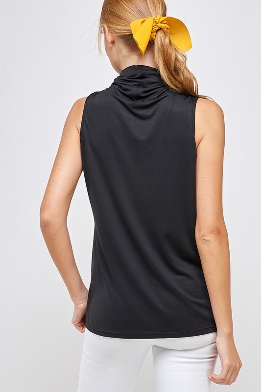 Sleeveless Black Top - High Neck with Built-in Face Mask with Ear Loop back