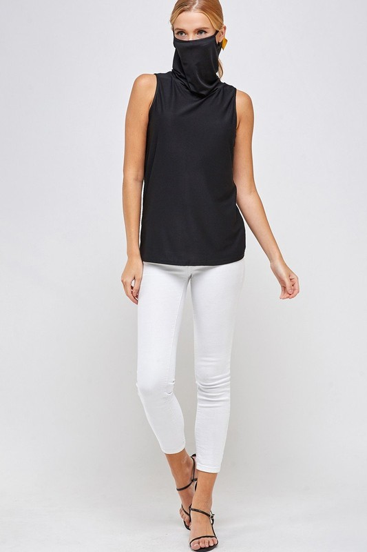 Sleeveless Black Top - High Neck with Built-in Face Mask with Ear Loop front