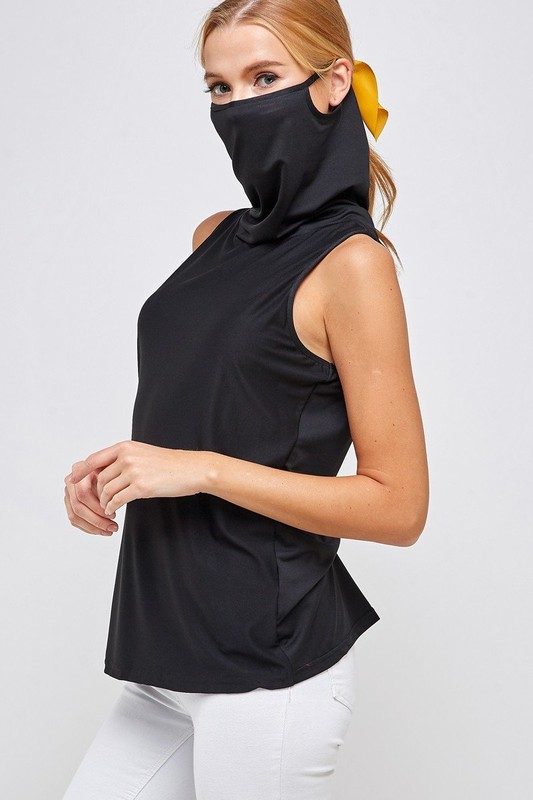 Sleeveless Black Top - High Neck with Built-in Face Mask with Ear Loop side