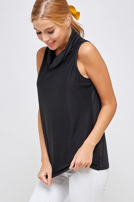 Sleeveless Black Top - High Neck with Built-in Face Mask with Ear Loop