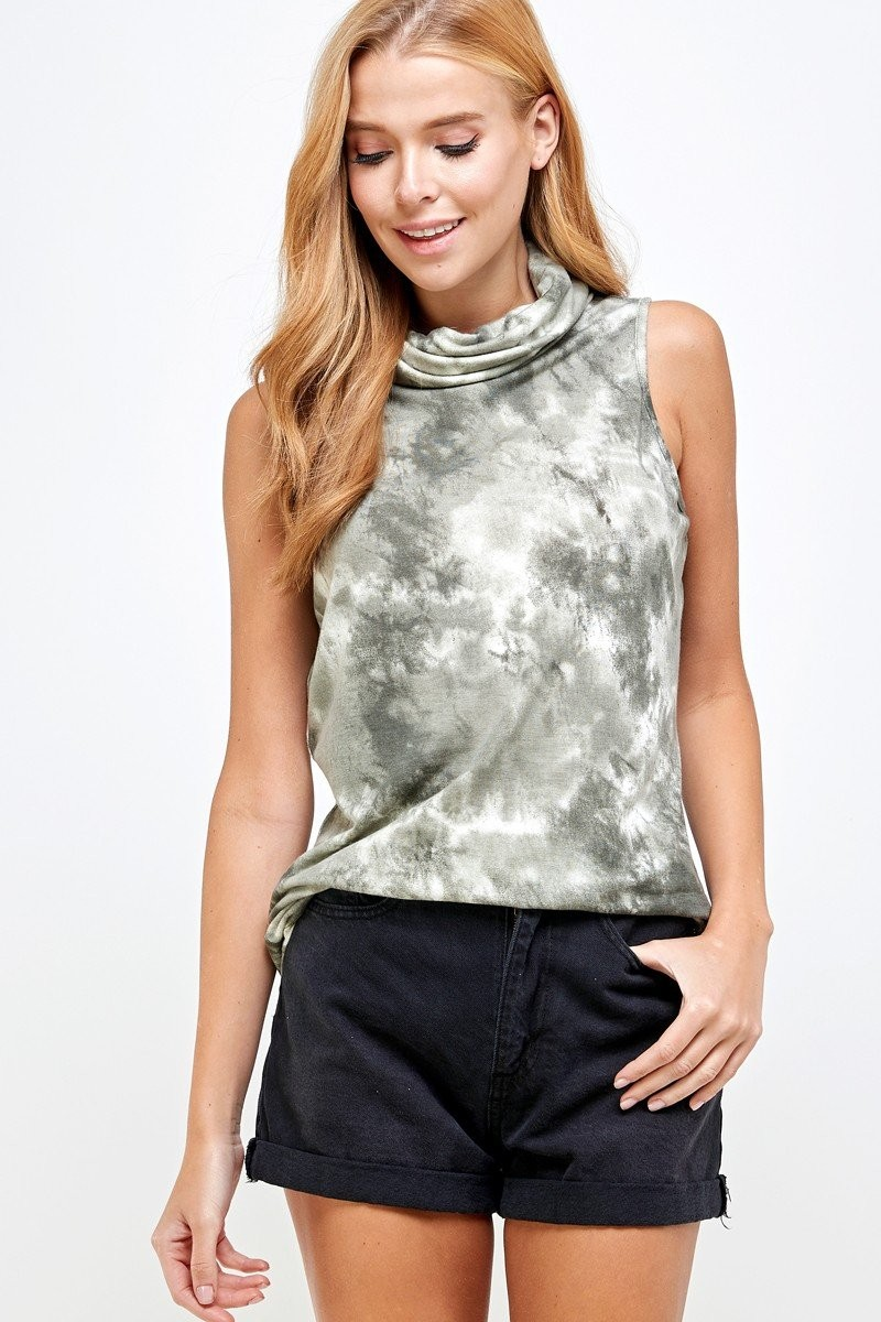 Sleeveless Tie Dye Essential Top with Built-in Face Mask Olive down