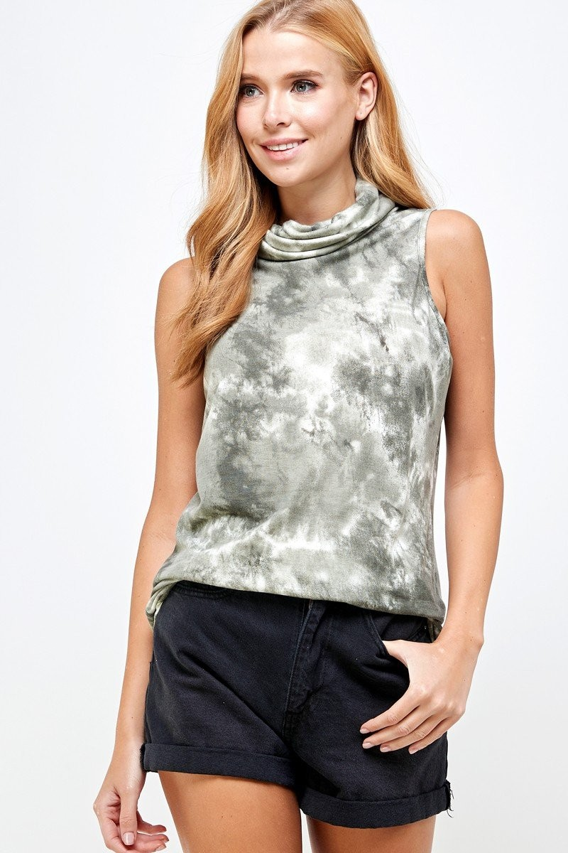 Sleeveless Tie Dye Essential Top with Built-in Face Mask Olive folded down