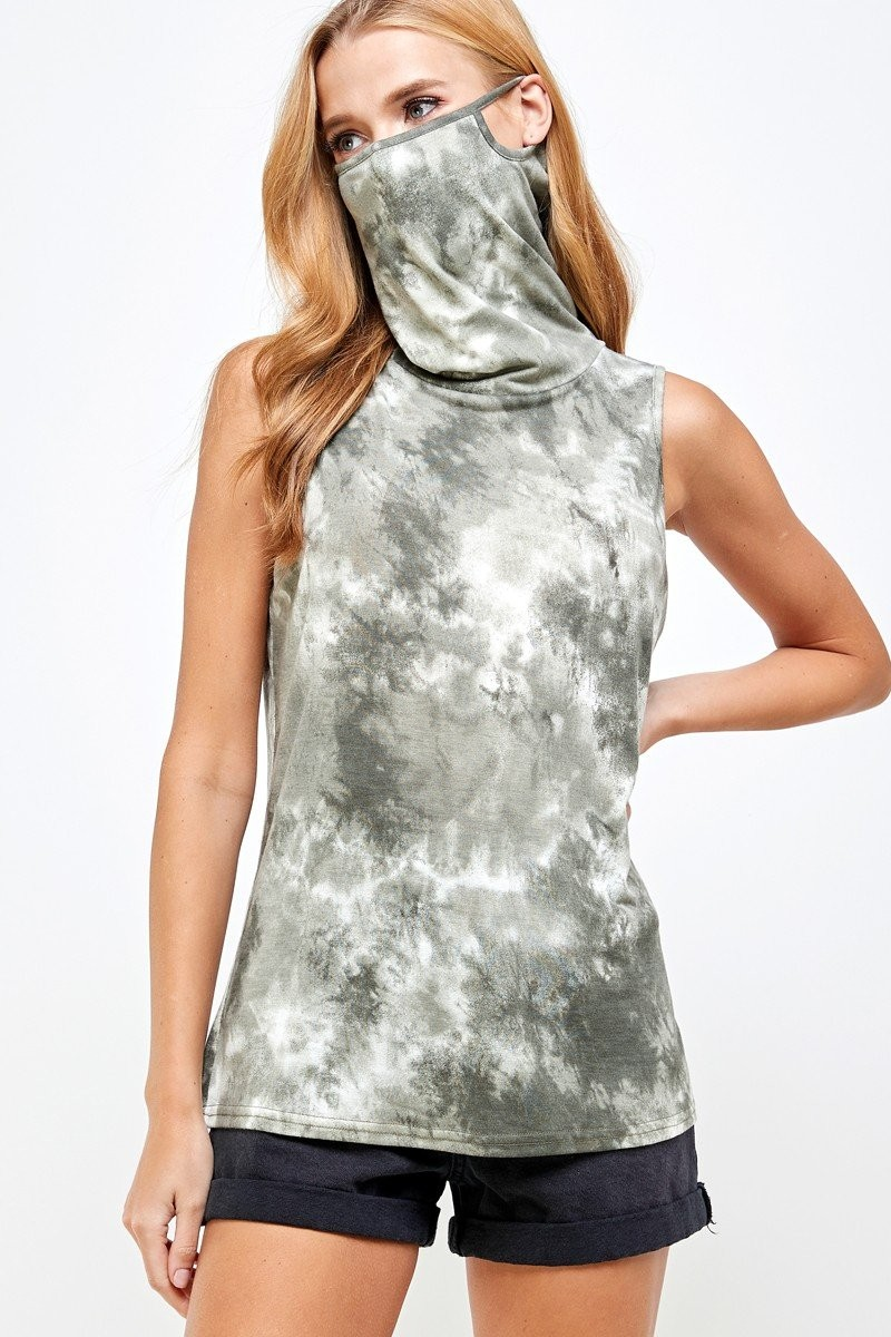 Sleeveless Tie Dye Essential Top with Built-in Face Mask Olive