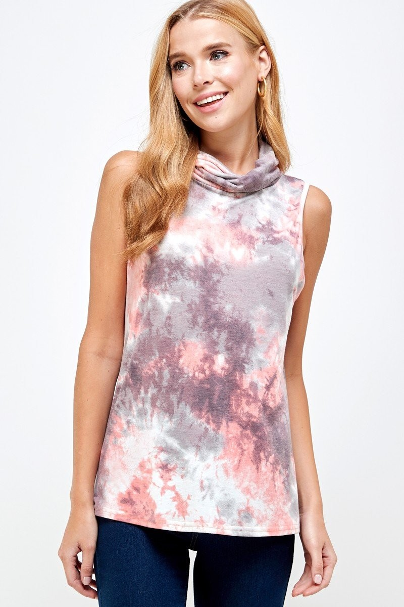 Sleeveless Tie Dye Essential Top with Built-in Face Mask Pink down