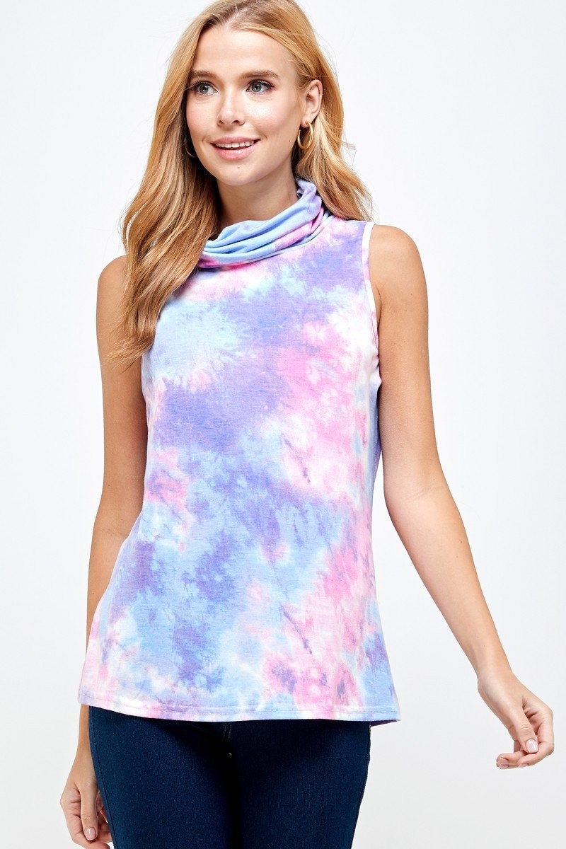 Sleeveless Tie Dye Essential Top with Built-in Face Mask Purple down