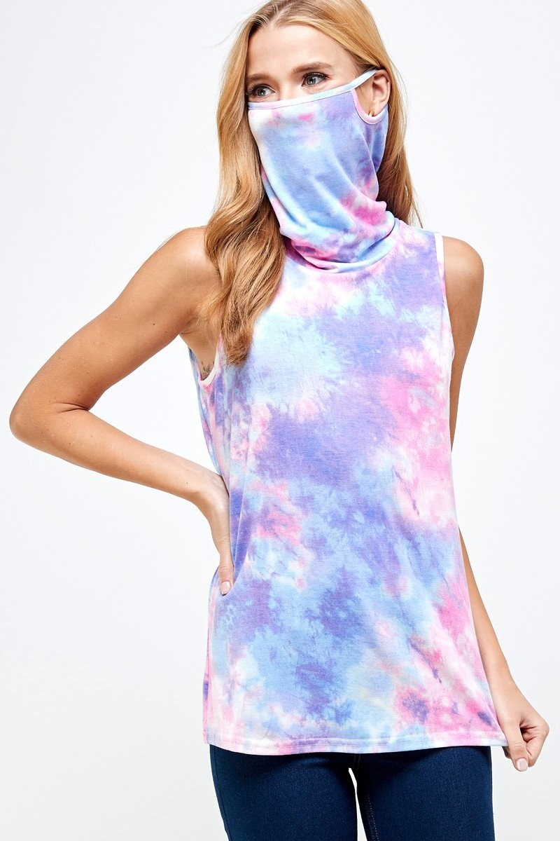 Sleeveless Tie Dye Essential Top with Built-in Face Mask Purple up