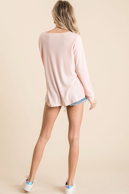 Thermal Waffle Print Top with Criss Cross Neck Detail back