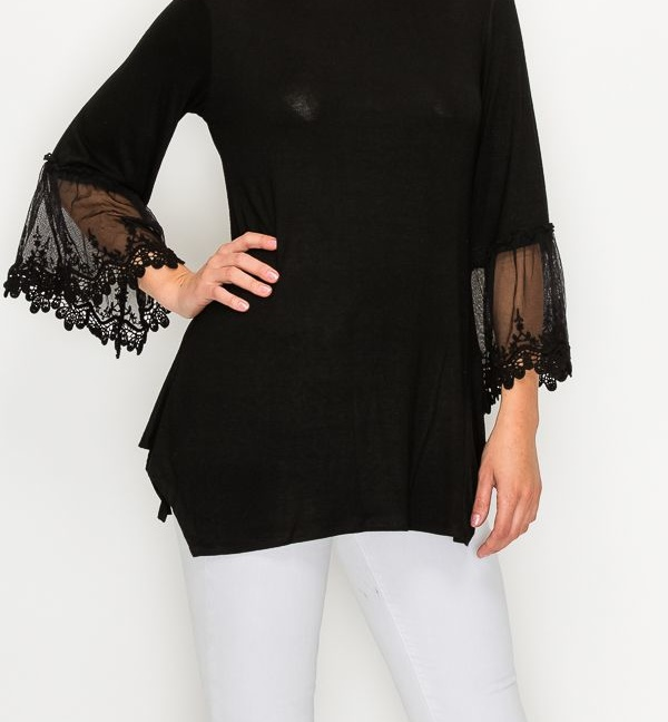 Top tunic with lace trimming on sleeves Black close