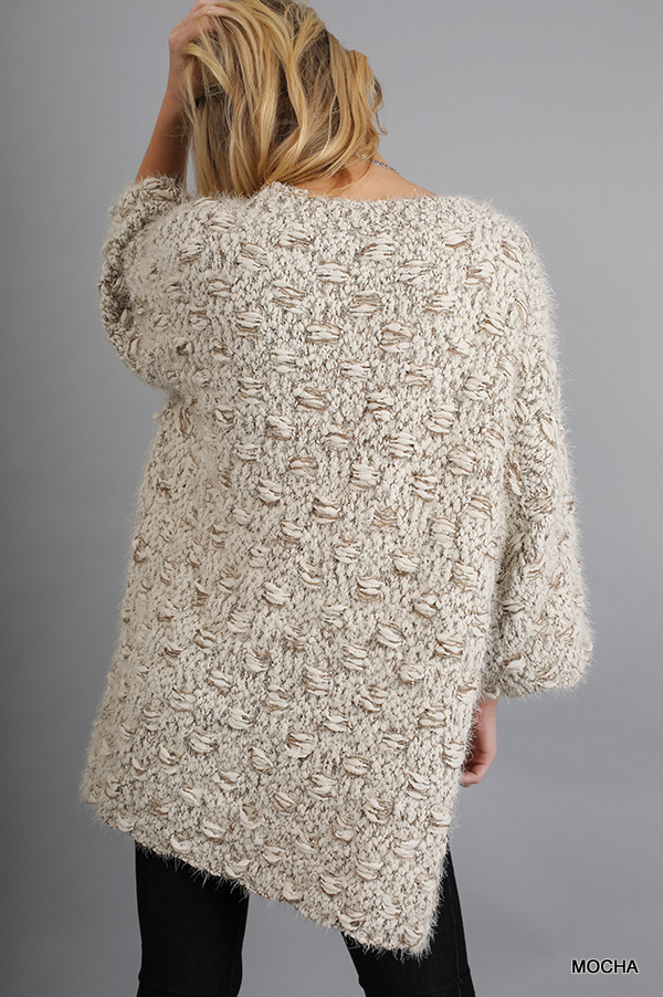 3/4 Sleeve Sweater with High Low Hemline Mocha back
