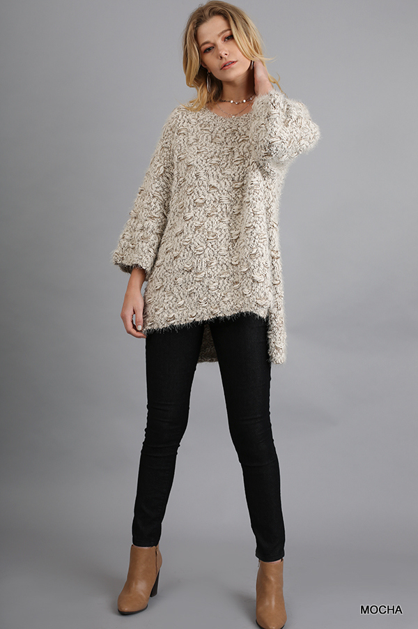 3/4 Sleeve Sweater with High Low Hemline Mocha full