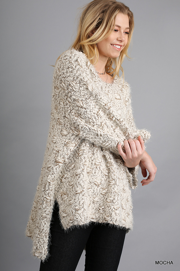 3/4 Sleeve Sweater with High Low Hemline Mocha side arm