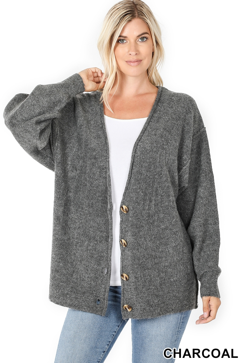 Melange button down cardigan gray