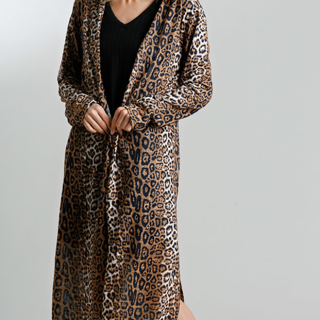 Animal Print Open Front Long Cardigan with Side Slits Camel
