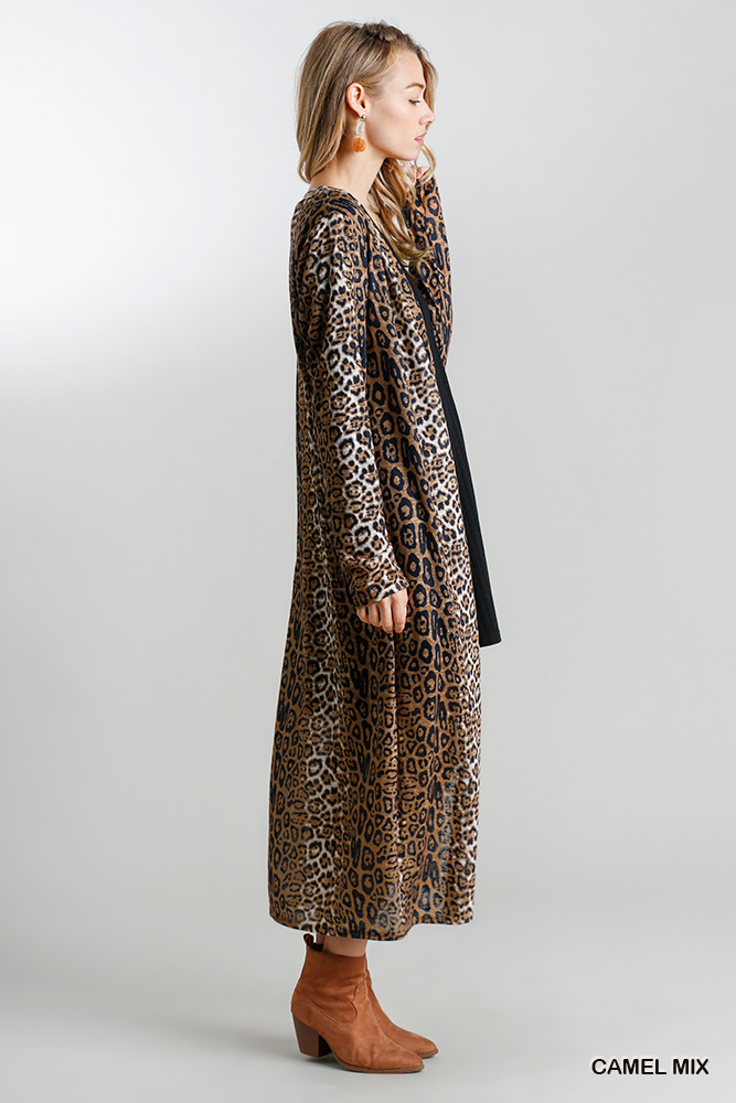 Animal Print Open Front Long Cardigan with Side Slits Camel side 2