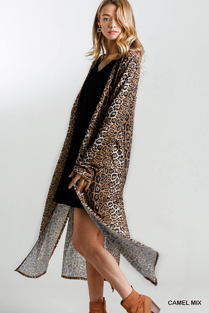 Animal Print Open Front Long Cardigan with Side Slits Camel side