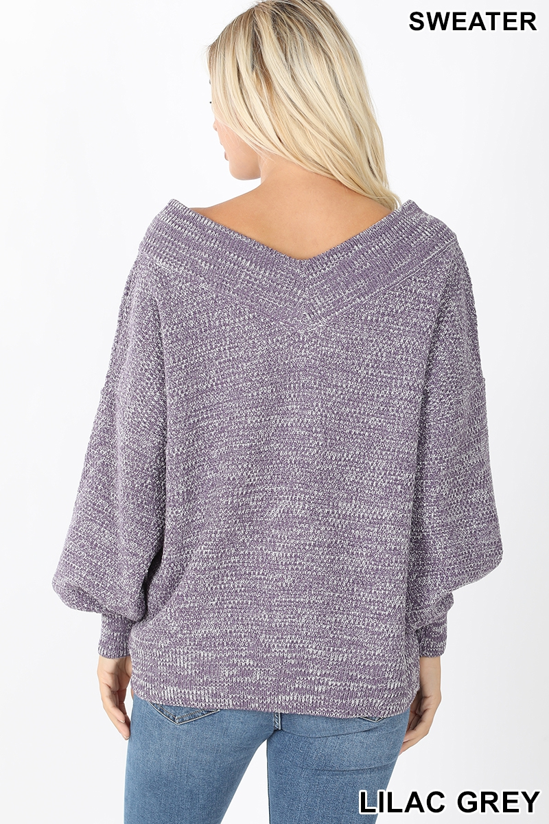 Balloon sleeve double V-neck sweater back lilac gray
