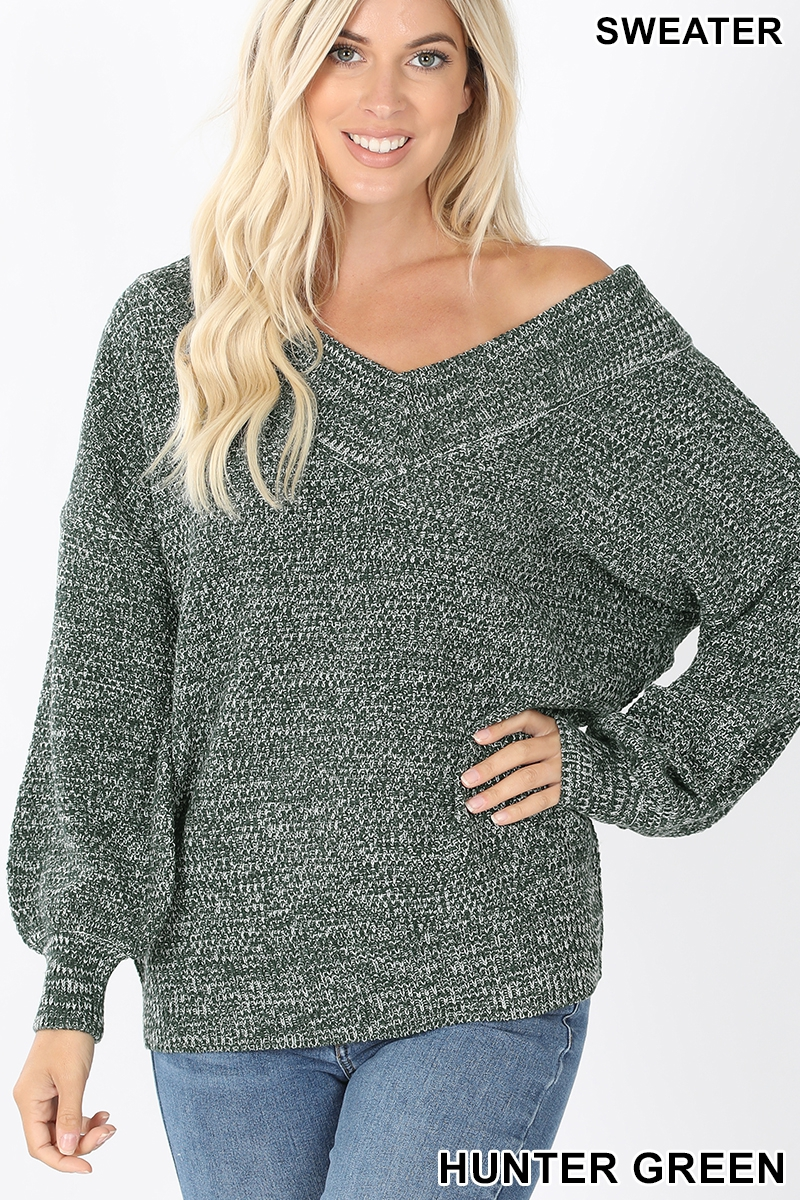 Balloon sleeve double V-neck sweater hunter green