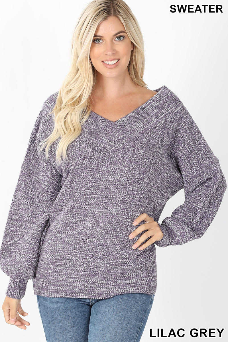 Balloon sleeve double V-neck sweater lilac gray