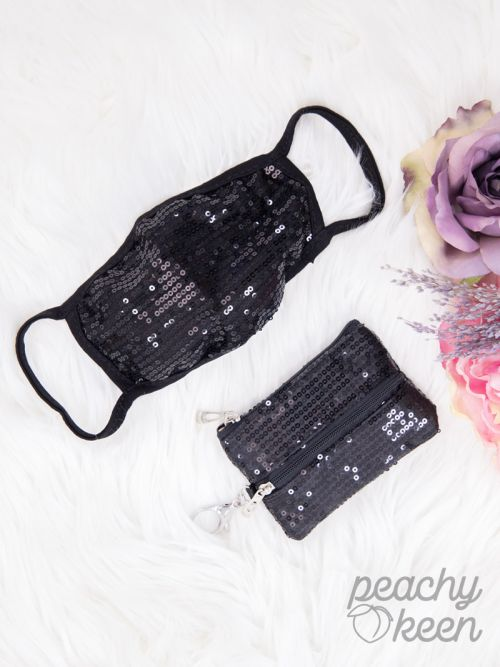 Black Sequin Face Mask with Matching Mini Versi Bag