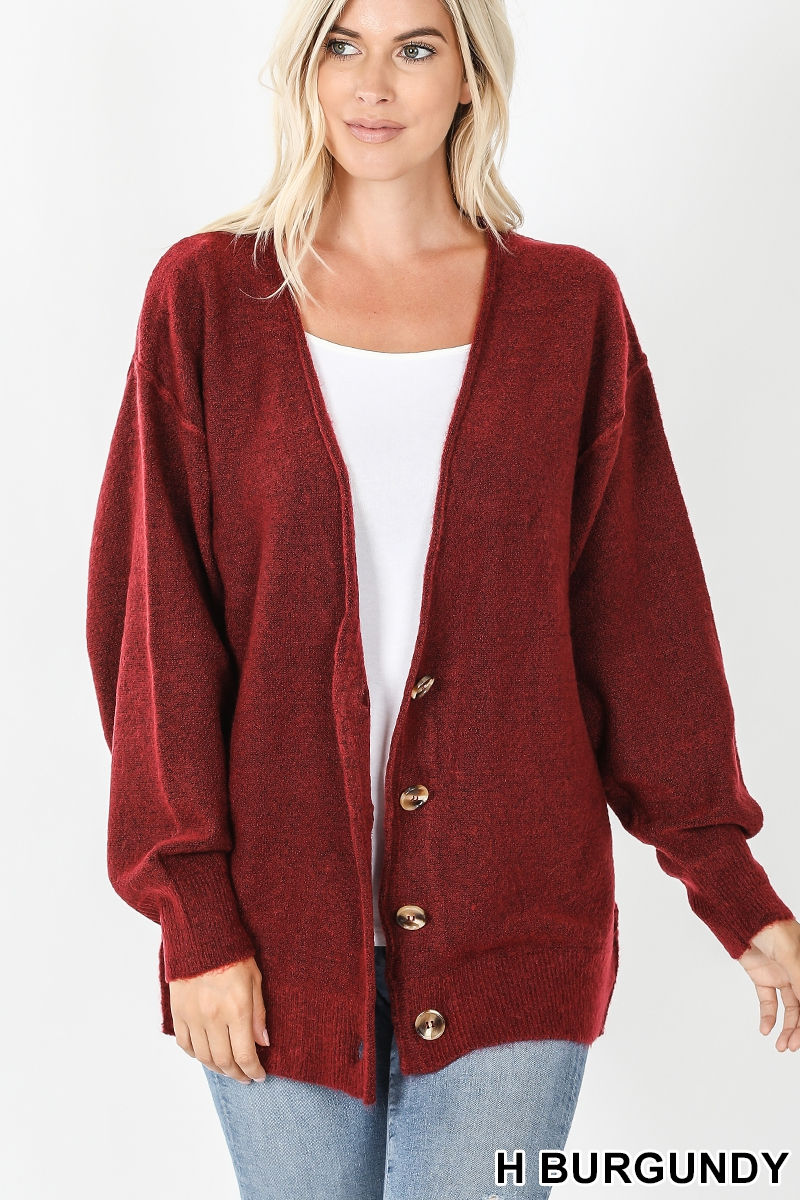Melange button down cardigan burgandy