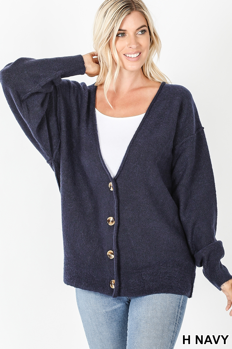 Melange button down cardigan navy