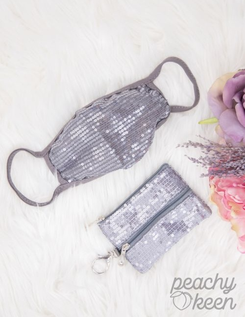 Silver Sequin Face Mask with Matching Mini Versi Bag