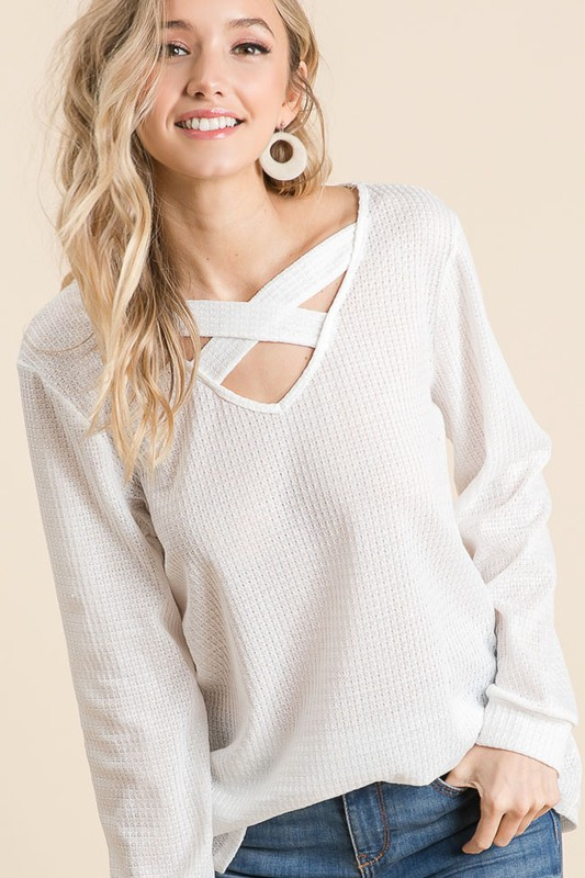 Thermal Waffle knit Top with Criss Cross Neck Detail oat