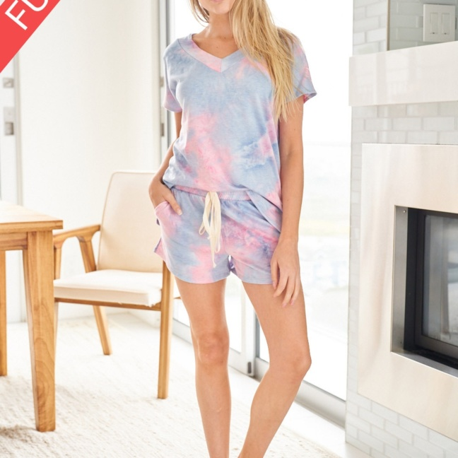 Tie Dye Knit Two Piece Shorts Loungewear Set