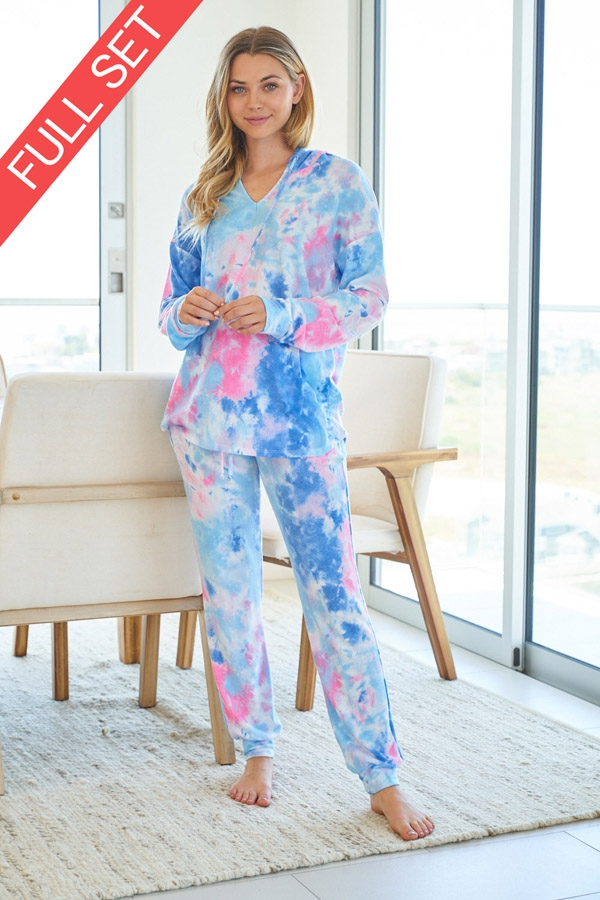 Tie Dye Knit Two Piece Set with longsleeves front 3