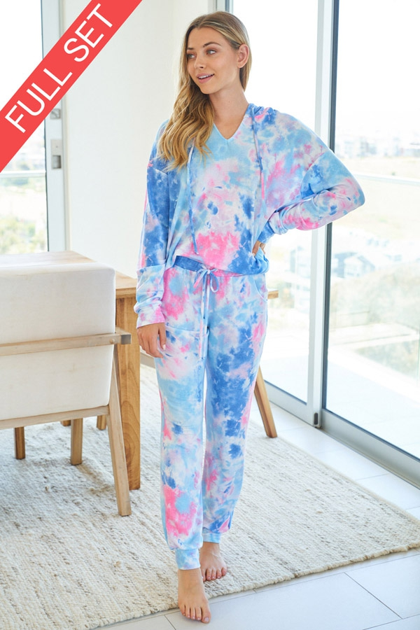 Tie Dye Knit Two Piece Set with longsleeves front 4