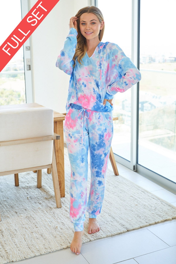 Tie Dye Knit Two Piece Set with longsleeves front 6