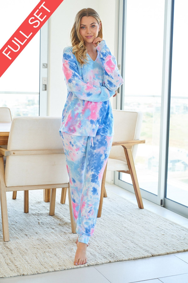 Tie Dye Knit Two Piece Set with longsleeves front 7