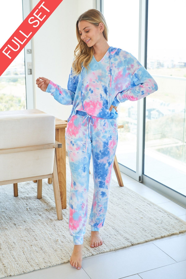 Tie Dye Knit Two Piece Set with longsleeves front