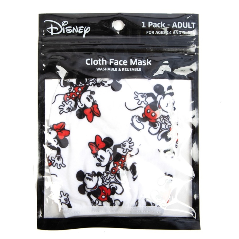 minnie and mickey adult adjustable face maskcover in package