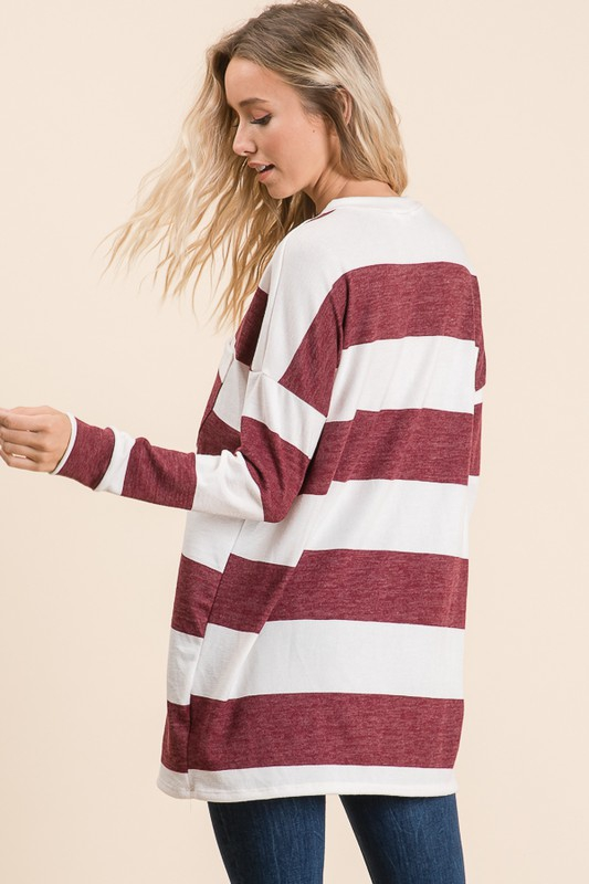 Striped Long Sleeve Comfy Top Burgundy back