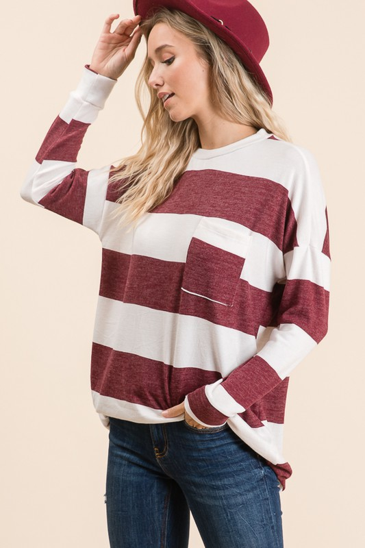 Striped Long Sleeve Comfy Top Burgundy side