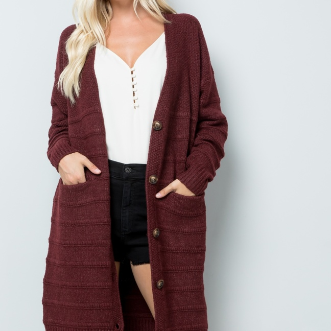 Sweet Lovely Midi Sweater Cardigan Burgundy front 2