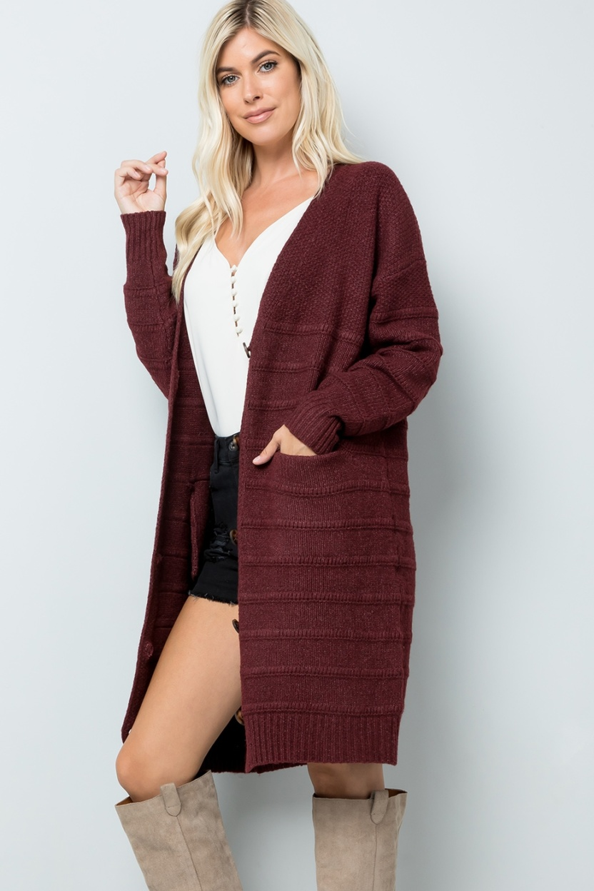 Sweet Lovely Midi Sweater Cardigan Burgundy front
