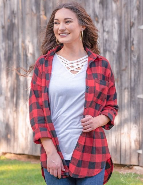 The Standard Plaid Flannel black and red